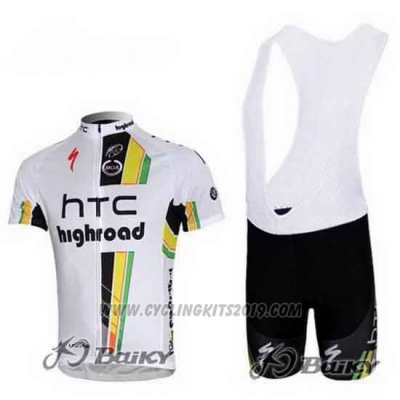 2011 Cycling Jersey HTC Highroad White Short Sleeve and Bib Short
