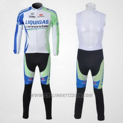 2011 Cycling Jersey Liquigas Cannondale White and Green Long Sleeve and Bib Tight