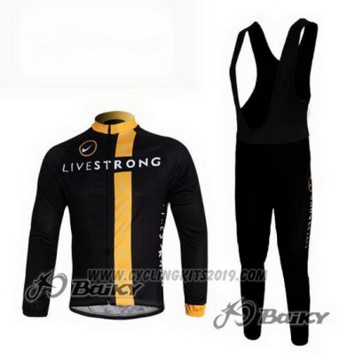 2011 Cycling Jersey Livestrong Black and Yellow Long Sleeve and Bib Tight