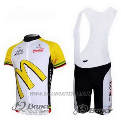 2011 Cycling Jersey McDonalds White and Yellow Short Sleeve and Bib Short