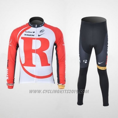 2011 Cycling Jersey Radioshack White and Red Long Sleeve and Bib Tight