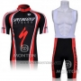 2011 Cycling Jersey Specialized Red and Black Short Sleeve and Bib Short
