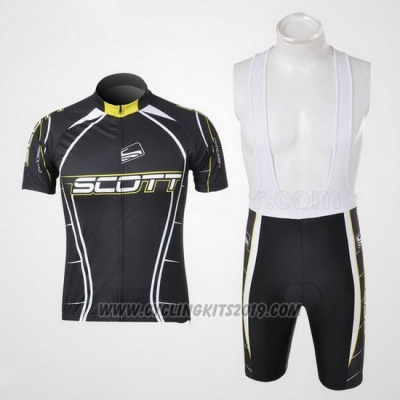 2012 Cycling Jersey Scott Black and White Short Sleeve and Salopette