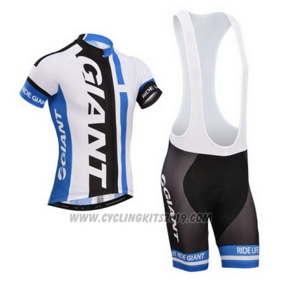 2013 Cycling Jersey Giant White and Sky Blue Short Sleeve and Bib Short