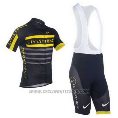 2013 Cycling Jersey Livestrong Black and Yellow Short Sleeve and Bib Short