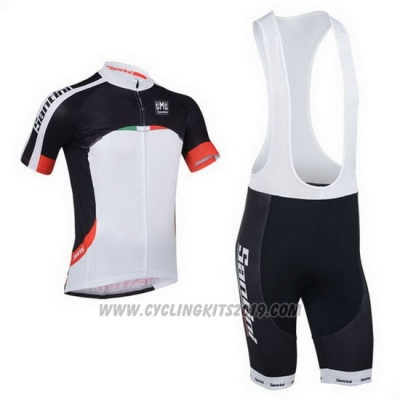 2013 Cycling Jersey Santini Black and White Short Sleeve and Bib Short