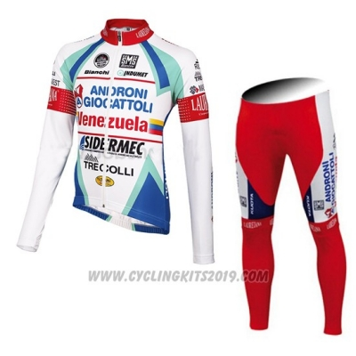 2014 Cycling Jersey Androni Giocattoli White Long Sleeve and Bib Tight