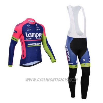 2014 Cycling Jersey Lampre Merida Pink and Blue Long Sleeve and Bib Tight