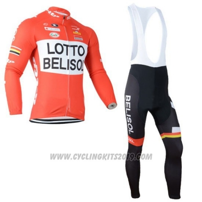 2014 Cycling Jersey Lotto Belisol Orange Long Sleeve and Bib Tight