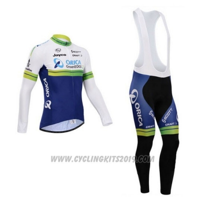 2014 Cycling Jersey Orica GreenEDGE White and Blue Long Sleeve and Bib Tight