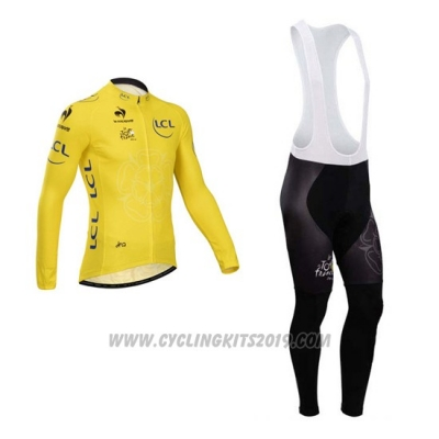 2014 Cycling Jersey Tour de France Yellow Long Sleeve and Bib Tight