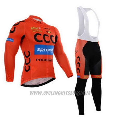 2015 Cycling Jersey CCC Black and Orange Long Sleeve and Bib Tight aaa42b93e