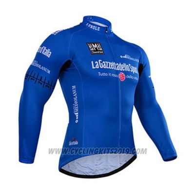 2015 Cycling Jersey Giro D'italy Blue Long Sleeve and Bib Tight