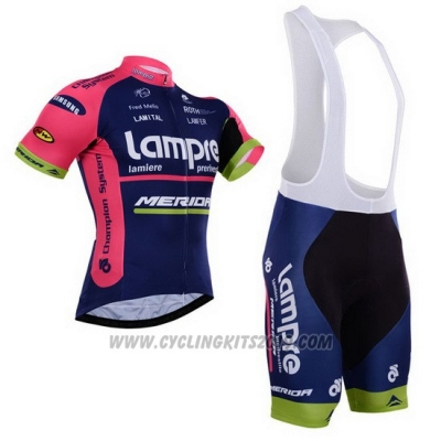 2015 Cycling Jersey Lampre Merida Pink and Blue Short Sleeve and Bib Short