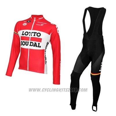 2015 Cycling Jersey Lotto Soudal Red and White Long Sleeve and Bib Tight