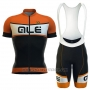 2016 Cycling Jersey ALE Black and Orange Short Sleeve and Bib Short