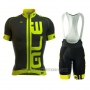 2016 Cycling Jersey ALE Green and Black Short Sleeve and Bib Short