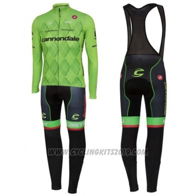 2016 Cycling Jersey Cannondale Black and Green Long Sleeve and Bib Tight