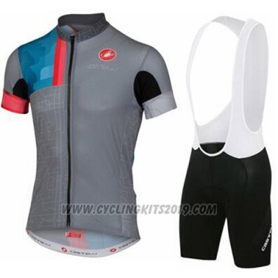 2016 Cycling Jersey Castelli Gray Short Sleeve and Bib Short