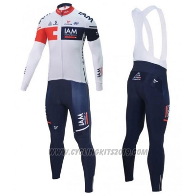 2016 Cycling Jersey IAM White and Blue Long Sleeve and Bib Tight