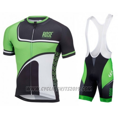2016 Cycling Jersey Pink Green and Black Short Sleeve and Bib Short