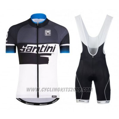 2016 Cycling Jersey Santini Blue and White Short Sleeve and Bib Short
