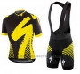 2016 Cycling Jersey Specialized Deep Black and Yellow Short Sleeve and Bib Short