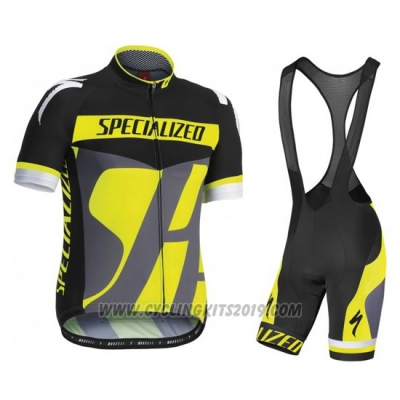 2016 Cycling Jersey Specialized Gray and Yellow Short Sleeve and Bib Short
