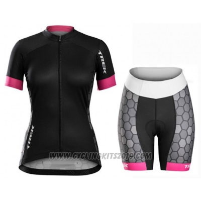 2016 Cycling Jersey Women Trek Black and White Short Sleeve and Bib Short