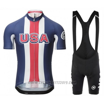 2017 Cycling Jersey Assos Campione The United States Blue Short Sleeve and Bib Short