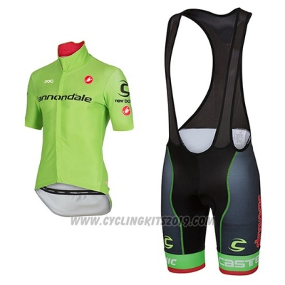 2017 Cycling Jersey Cannondale Green Short Sleeve and Bib Short