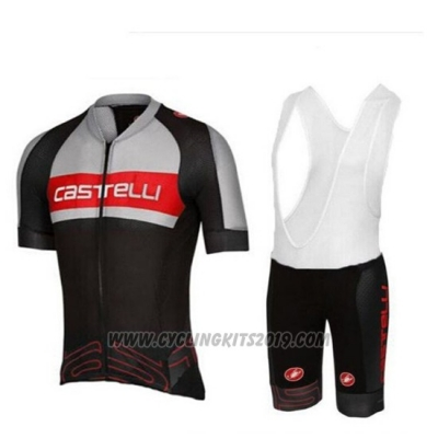 2017 Cycling Jersey Castelli Gray and Black Short Sleeve and Bib Short