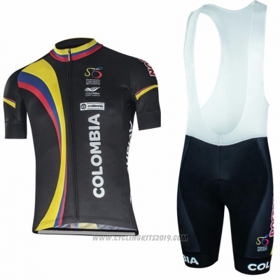 2017 Cycling Jersey Colombia Black Short Sleeve and Bib Short
