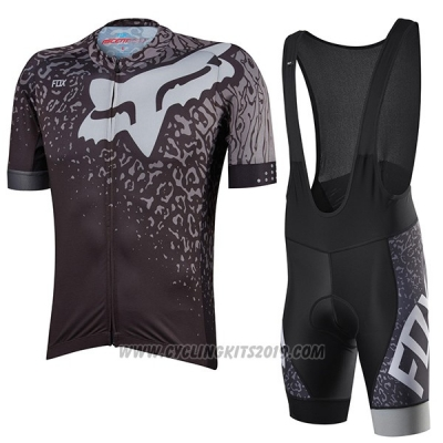 2017 Cycling Jersey Fox Ascent Comp Gray Short Sleeve and Bib Short
