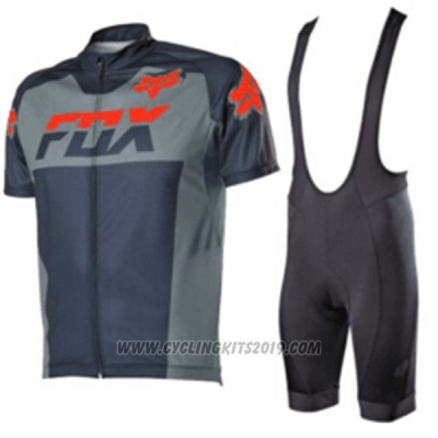 2017 Cycling Jersey Fox Gray Short Sleeve and Bib Short