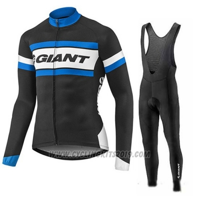 2017 Cycling Jersey Giant Blue and Black Long Sleeve and Bib Tight