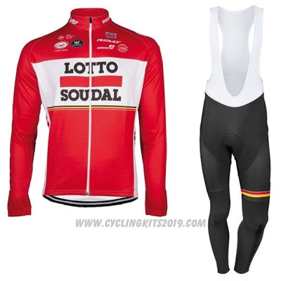 2017 Cycling Jersey Lotto Soudal Ml Red Long Sleeve and Bib Tight