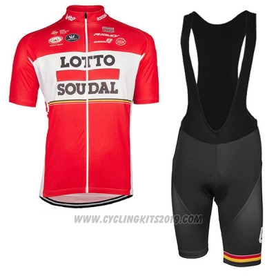 2017 Cycling Jersey Lotto Soudal Red Short Sleeve and Bib Short