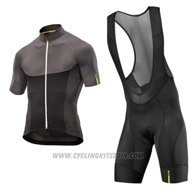2017 Cycling Jersey Mavic Black and Gray Short Sleeve and Bib Short