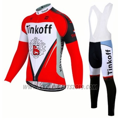 2017 Cycling Jersey Tinkoff Red Long Sleeve and Bib Tight