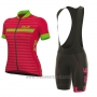 2017 Cycling Jersey Women ALE Excel Riviera Red and Green Short Sleeve and Bib Short