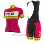 2017 Cycling Jersey Women ALE Graphics Prr Bermuda Pink and Yellow Short Sleeve and Bib Short
