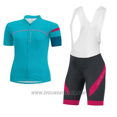 2017 Cycling Jersey Women Gore Bike Wear Light Blue Short Sleeve and Bib Short