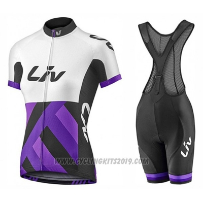 2017 Cycling Jersey Women Liv Race Day White and Purple Short Sleeve and Bib Short