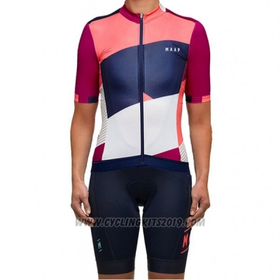 2017 Cycling Jersey Women Maap White and Pink Short Sleeve and Bib Short