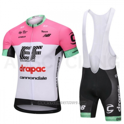 2018 Cycling Jersey Cannondale Drapac White and Pink Short Sleeve and Bib Short