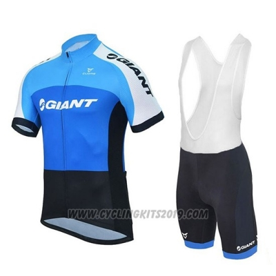 2018 Cycling Jersey Giant Club Sport Blue and Black Short Sleeve and Bib Short