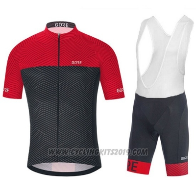 2018 Cycling Jersey Gore C3 Optiline Red and Black Short Sleeve and Bib Short
