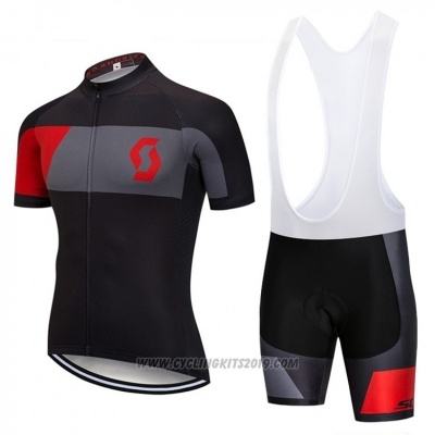 2018 Cycling Jersey Scott Black and Red Short Sleeve and Bib Short