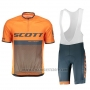 2018 Cycling Jersey Scott Rc Black Orange Short Sleeve and Bib Short